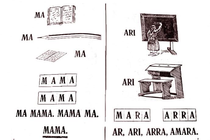 Первые страницы абазинского букваря «Анбызшва» («Материнский язык»), созданный Татлустаном Табуловым в соавторстве с Х. Патовым, М. Ниповым на латинской графике, Баталпашинск, 1933 год