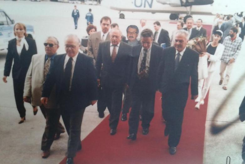Bediz Kvaratskhelia on the left, Vladimir Avidzba, Vladislav Ardzinba, Irfan Argun in the center, Sergey Bagapsh behind - as part of the Abkhaz delegation in Turkey
