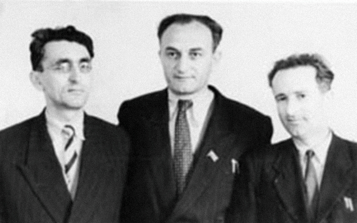 Khukhut Bgazhba, Georgy Dzidzaria, Mikhail Trapsh - in memory of the defense of his doctoral dissertation, Sukhum, May 15, 1958