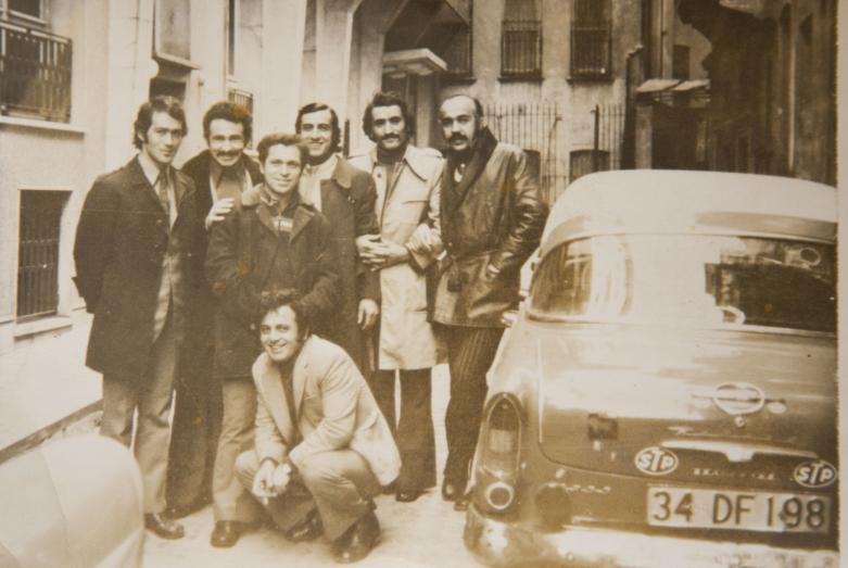 Группа танцоров Государственного академического ансамбля народного танца Грузии Сухишвили-Рамишвили, слева четвертый - Кандид Тарба, 1970-71 годы