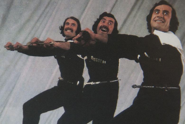 Кандид Тарба, Вианор Тарба, Арвелод Тарба, три брата в составе Государственного ансамбля песни и танца Абхазии, 1982-83 гг.