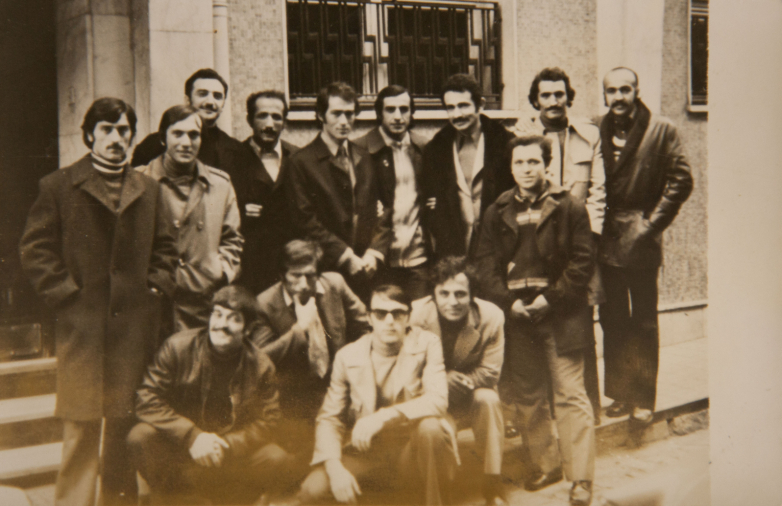 Группа танцоров Государственного академического ансамбля народного танца Грузии Сухишвили-Рамишвили, стоит слева шестой  Кандид Тарба, 1970-1971 годы