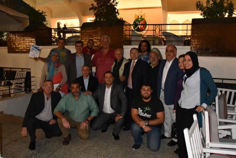 Мухаммед Абаза во время визита абхазской делегации во главе с Сонером Гогуа и Бесланом Бутба в Египет, октябрь 2015 года