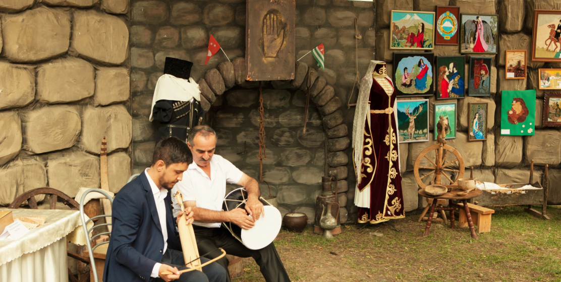 Everyone could practice playing the national instruments of the Abaza people.