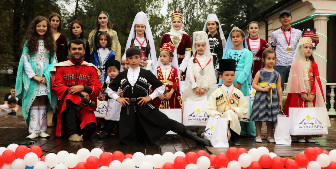 Winners and participants of the national costumes contest.