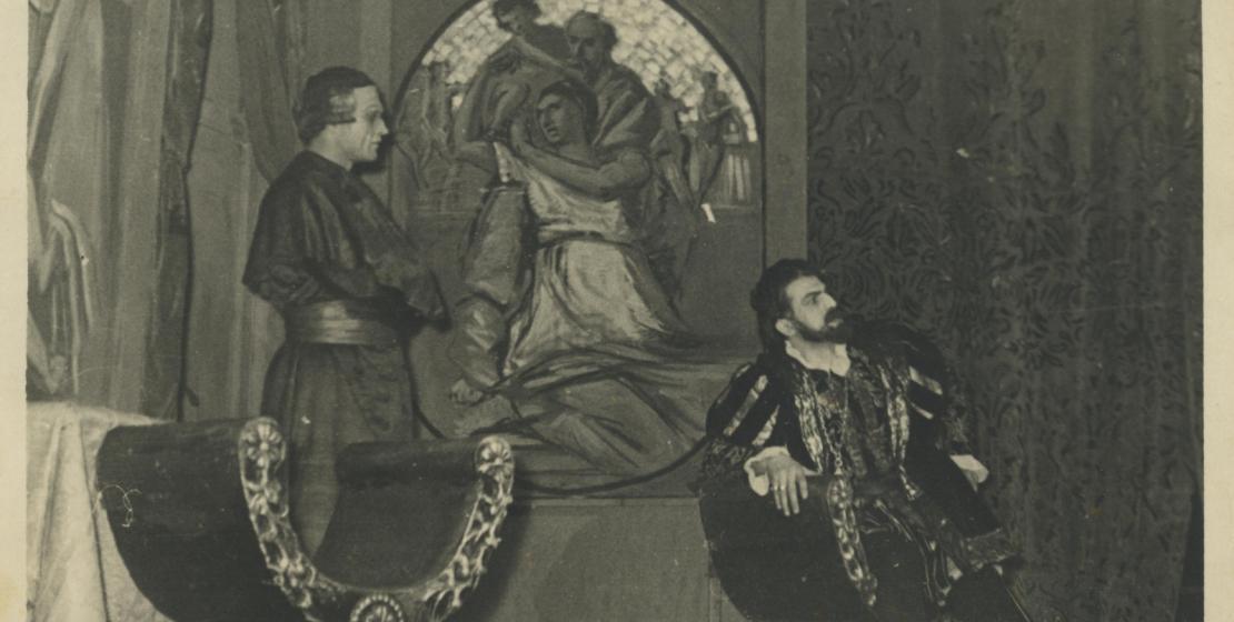 Нурбей Камкиа (слева) в роли Анджело в спектакле «Анджело» по Виктору Гюго,Тбилиси, 20 ноября 1958 год