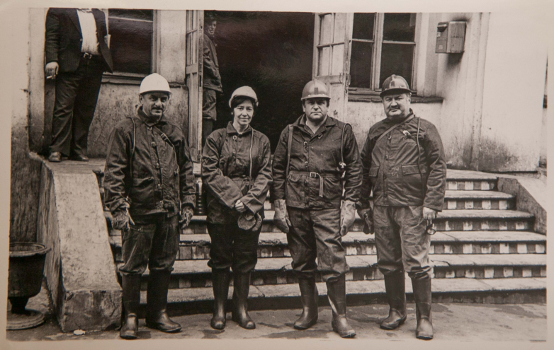 Vladimir Avidzba and workers of the Tkuarchal mine (second from left, Asya Ardzinba), Tkuarchal, 1980s