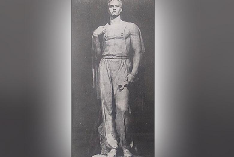 Скульптура «Рабочий» Марины Эшба, выполненная для Варшавского дворца наций, установлен в 1950-е годы