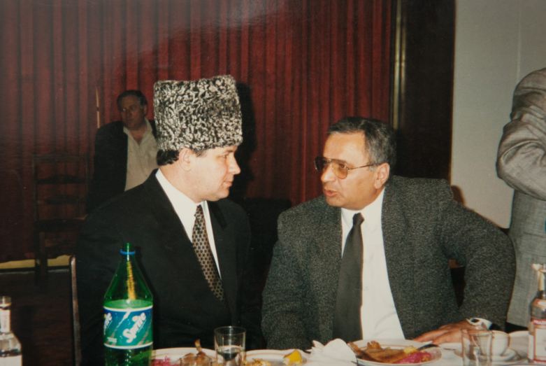Gennady Alamiya and Chairman of the Parliament of the State Committee for the Human Rights of the People's Republic, Yusup Soslanbekov, Moscow Restaurant, March 8, 1998