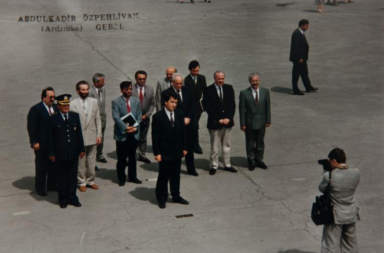 Gennady Alamiya in the delegation from Abkhazia at the monument to Mustafa Kemal Ataturk, Gebze, Turkey, 1992. Picture taken by Abdulkadyr Ardzinba