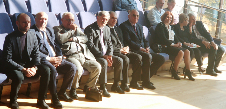 "At the awarding ceremony of the winners of the Academician Nafi Dzhusoyty award, where a special prize was awarded to Gennady Alamiya for the translation into the Abkhaz language Kota Khetagurov's collection ""The Ossetian lira"".  In the photo: third from left Gennady Alama, October 12, 2018"