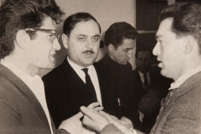 Встреча абхазского землячества, слева направо: Тарас Шамба, Руфет Бутба, Джума Ахуба, Мушни Ласурия, Москва, 1964 год