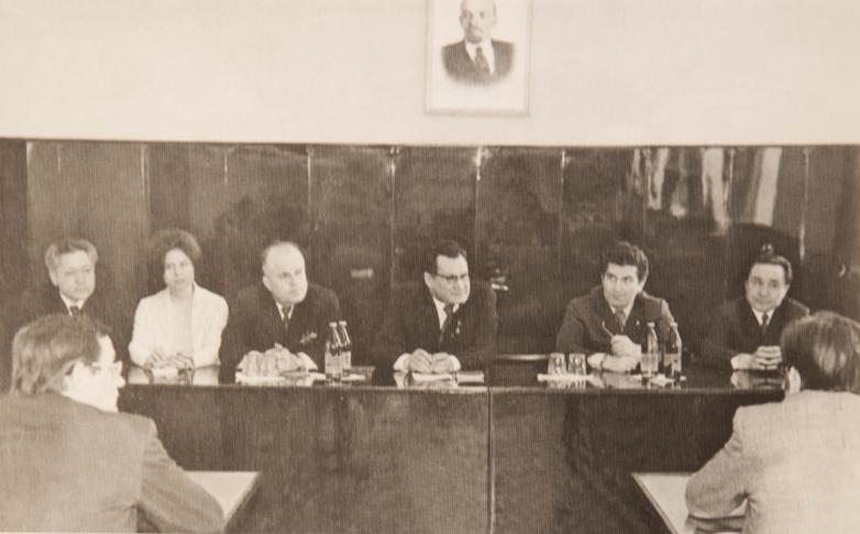 Встреча с партхозяйством города Караганда, в президиуме второй справа - Тарас Шамба, Казахстан, 1978 год