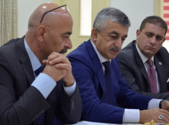 "From left to right in the photo: Nabil Abida, ""Diuan Abaza"" member, Mussa Ekzekov, WAC Supreme Council Chairman, Anuar Abaza (Chkua), WAC Supreme Council member at the meeting in ""Diwan Abaza"" in Jordan"