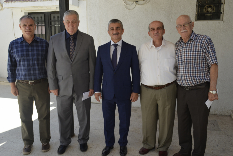 "From left to right in the photo: Mohammed Abaza (Chichba), Hasan Abaza (Chichba), Mussa Ekzekov, Aziz Abaza (Mkhtse), Karam Gechba at the meeting in ""Diwan Abaza"" in Jordan"