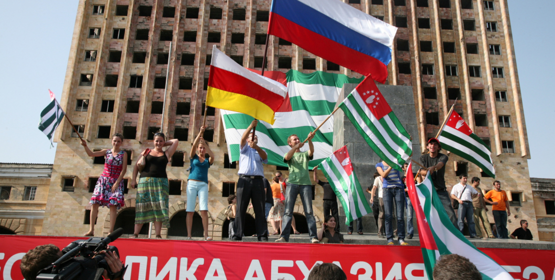 Freedom Square was full of flags of Abkhazia, Russia and South Ossetia, which proudly waved above free Abkhazia