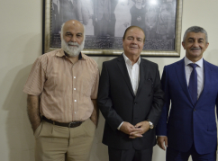 From left to right: Chairman of the Circassian Charity Association, Janbek Zuhdi, Member of the House of Representatives of the National Assembly (Parliament) of Jordan Mansour Seyfeddin Murad Szhazh, Mussa Ekzekov