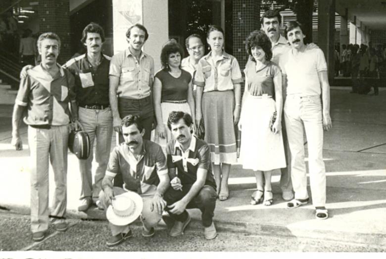 Abhaz kültür heyeti üyeleri Punon Pen şehir turunda. Kamboçya, 1985 yılı
