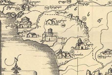 Карта грузинского историка и географа Вахушти Багратиони с изображением Келасурской стены