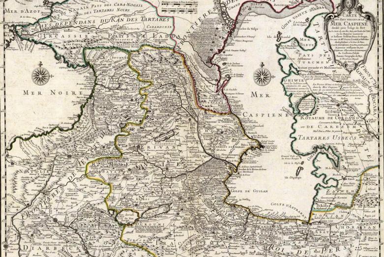 Карта стран, лежащих вокруг Каспийского моря, 1723 год. Автор – французский картограф Гийом Делиль