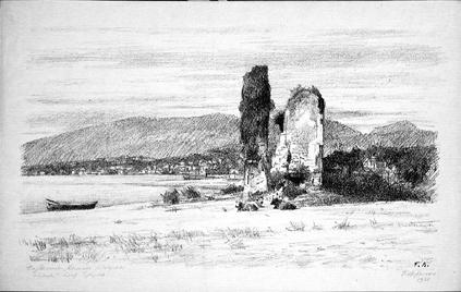 Литография 1935 года с изображением развалин Великой Абхазской стены близ Сухума, автор – Георгий Верейский