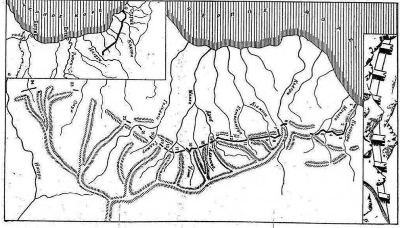 Схема расположения Великой абхазской стены по версии Юрия Воронова