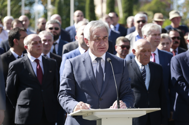 Президент Республики Абхазия Рауль Хаджимба выступил перед народом.