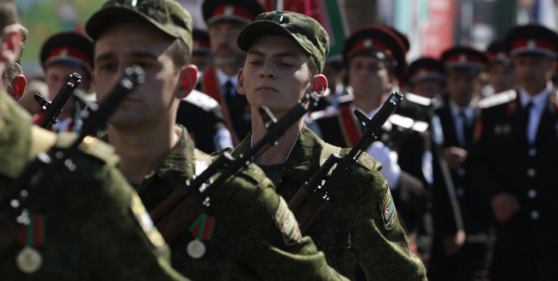 Young soldiers demonstrated the skill of marching.