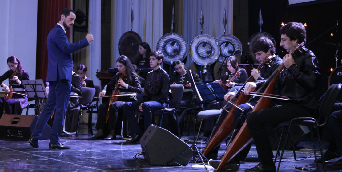 The State Orchestra of Folk Instruments named after Otar Khuntsariya took part in the concert.