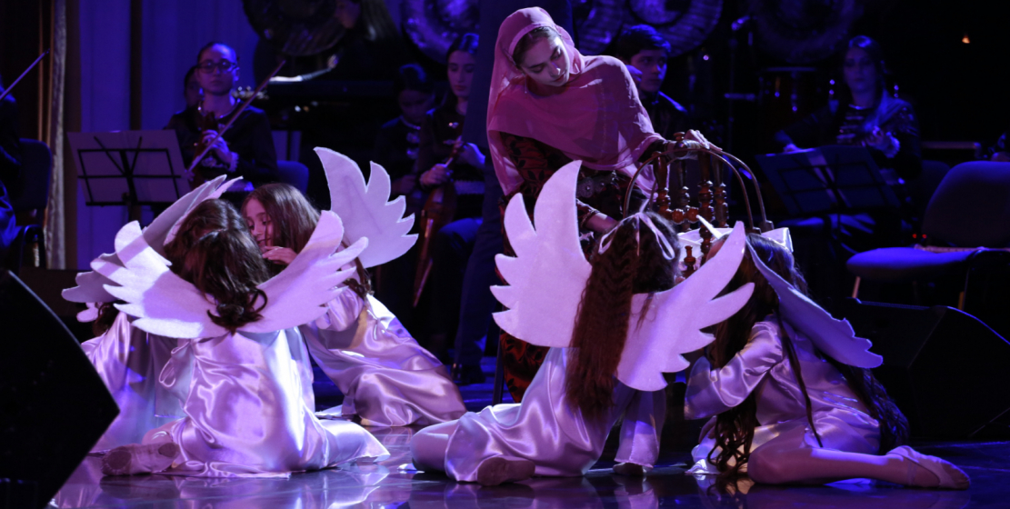 """Young artists perform """"war and peace."""""""