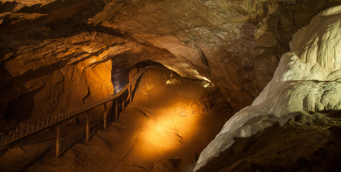 The largest cave hall is the Makhadzhir's Hall.  Its length is 260 meters, height - up to 50 meters, width - up to 75 meters.