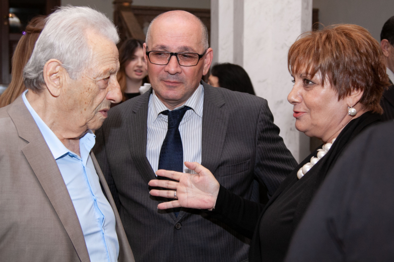 At the anniversary evening dedicated to Bagrat Shinkuba, in the Samson Chanba Abkhaz State Drama Theater.  In the photo from left to right: Alexey Gogua, Daur Nachkebiya and  Svetlana Korsaya