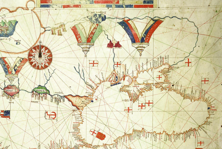 Black Sea. Fragment of the portolan by Albino de Canepa, 1489