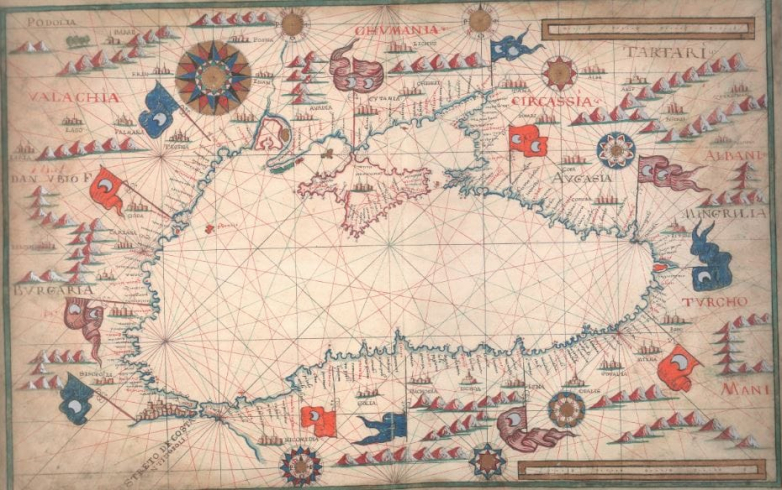 Map of the Black Sea by Antonio Millo, late 1580s