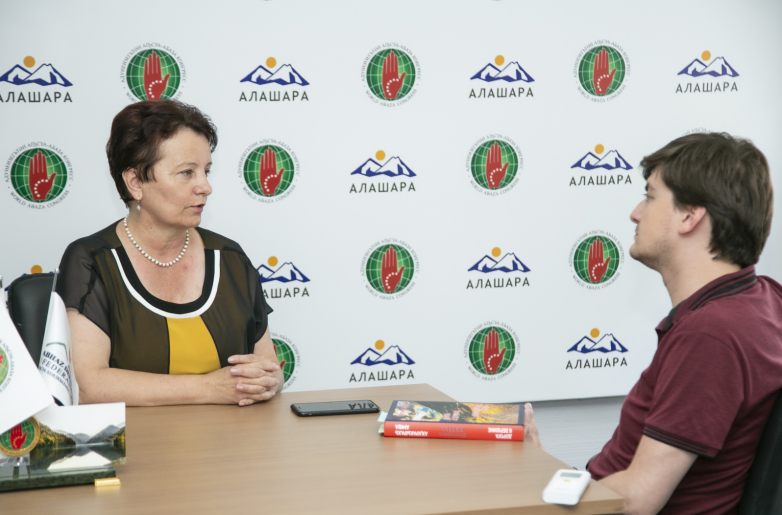 Ekaterina Bebiya during an interview in the Information Portal of the World Abaza Congress