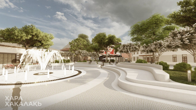"""The project of the monument and landscaping of the Sergey Bagapsh square from the """"Ҳара ҳақалақь"""" group"""