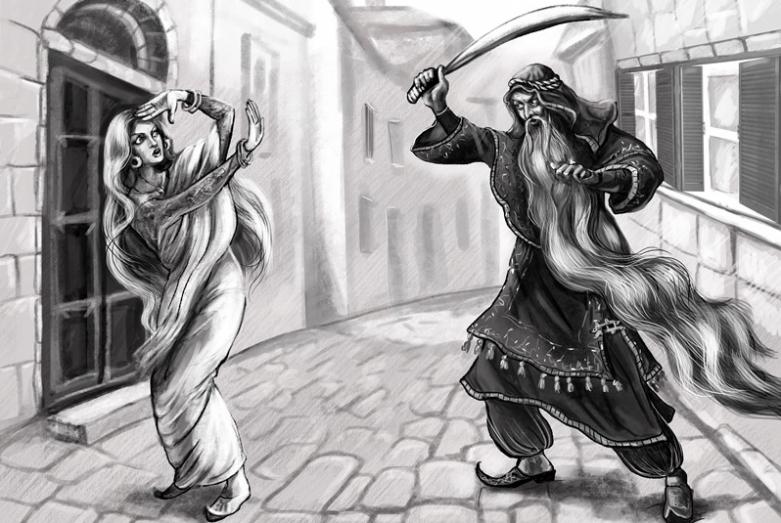 Иллюстрация к книге «Сказка об Ариджане и его жене Харипудре, или Сказки древнего Востока, которые никто и никогда не слышал»