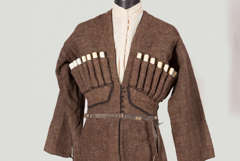 Peasant men's suit from homespun wool, handmade buttons from cotton thread, 19th century